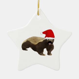 Mustache Honey Badger Santa Ceramic Star Decoration