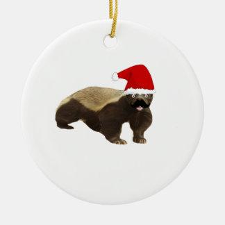 Mustache Honey Badger Santa Round Ceramic Decoration