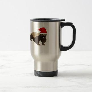 Mustache Honey Badger Santa Travel Mug