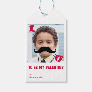 Mustache Kids Classroom Valentine Photo Gift Tags