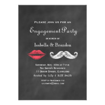 Mustache & Lips Engagement Party Invitation Cards