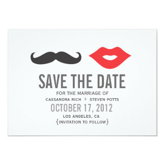 Mustache & Lips Save The Date Card