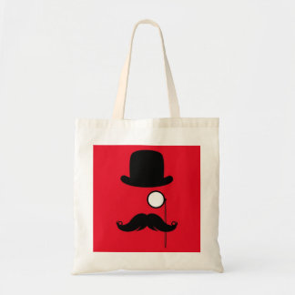 Mustache Man on Red Background
