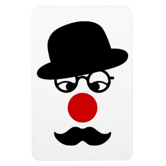 Mustache Man with Hat and Clown Nose Rectangle Magnets