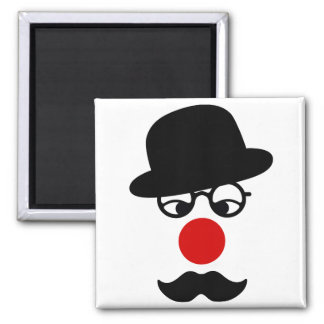 Mustache Man with Hat and Clown Nose Square Magnet