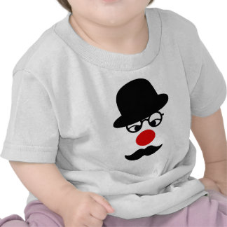 Mustache Man with Hat and Clown Nose Tshirt