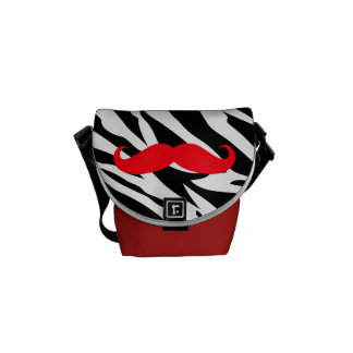 Mustache Messenger Bag Mini- Zebra