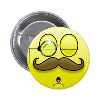 Mustache & Monocle Smilie Button