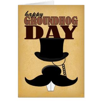 Mustache Moustache Groundhog Day Card