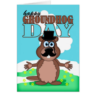 Mustache Moustache Groundhog Day With Cute Cartoon Card