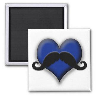 Mustache Moustache Heart in Blue Magnet