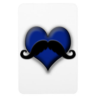 Mustache Moustache Heart in Blue Vinyl Magnets