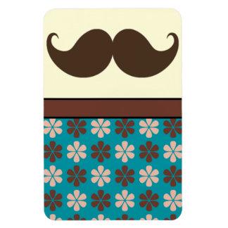 Mustache Moustache on Retro Pattern Rectangle Magnet