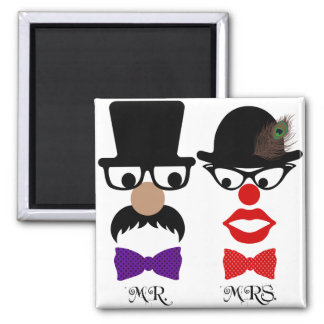 Mustache Mr. & Mrs. Red Lips & Hats Magnets