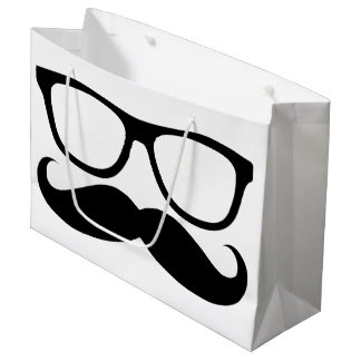 Mustache Nerd Black Graphic Large Gift Bag