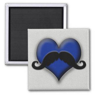 Mustache on Blue Heart, Very Retro! Fridge Magnet