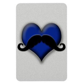 Mustache on Blue Heart, Very Retro! Rectangular Magnets