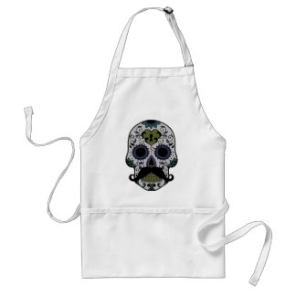 Mustache on Day of the Dead Sugar Skull Standard Apron