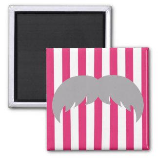 Mustache on Pink & White Stripes Refrigerator Magnet