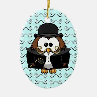 mustache owl ceramic ornament