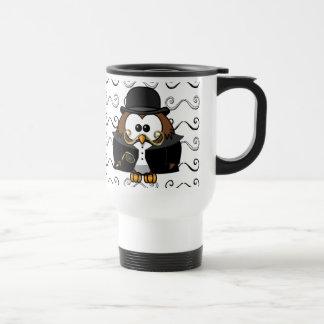 mustache owl travel mug