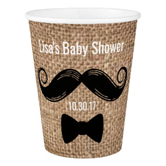 Mustache Paper Cups | Rustic Burlap Party Ideas