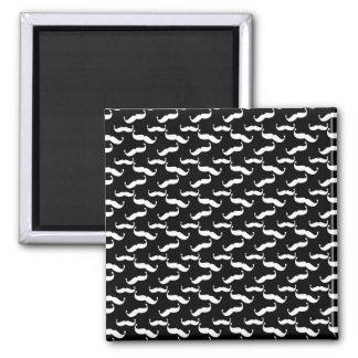 Mustache Pattern in Black & White Magnet