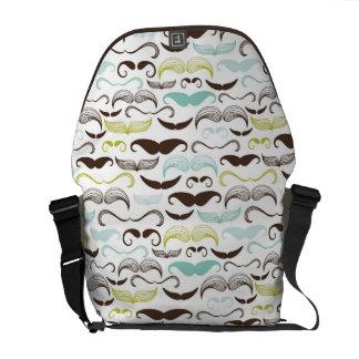 Mustache pattern, retro style 2 courier bag