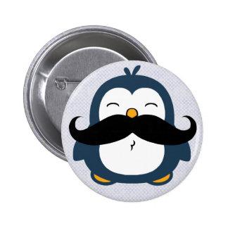 Mustache Penguin 6 Cm Round Badge