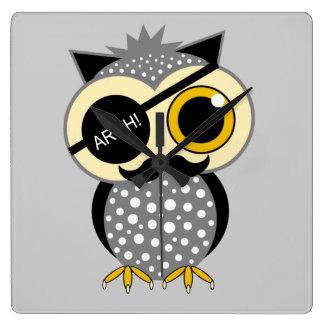 mustache pirate owl square wall clock