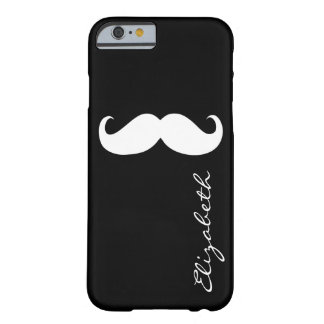 Mustache Plain Black Background Barely There iPhone 6 Case