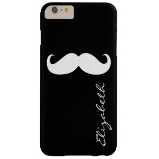Mustache Plain Black Background Barely There iPhone 6 Plus Case