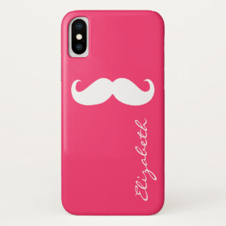 Mustache Plain Hot Pink Background iPhone X Case