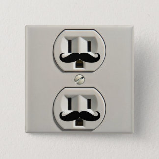 Mustache power outlet 15 cm square badge
