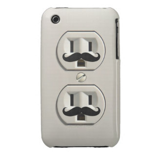 Mustache power outlet Case-Mate iPhone 3 cases
