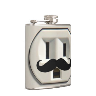 Mustache power outlet hip flask