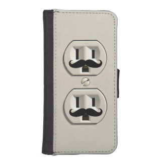 Mustache power outlet iPhone 5 wallet case