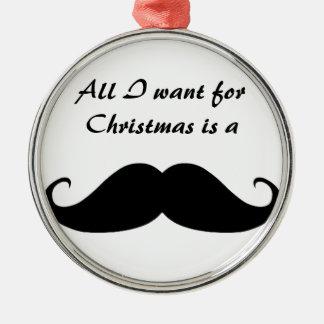 Mustache Premium Round Ornament