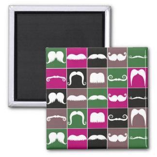 Mustache Retro Pattern Fridge Magnet