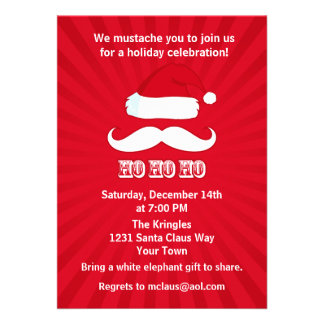 Mustache Santa Red Invite