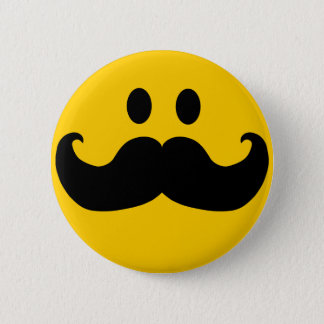 Mustache Smiley 6 Cm Round Badge