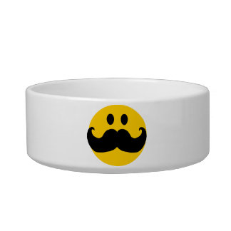 Mustache Smiley Cat Food Bowl