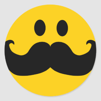 Mustache Smiley (Customizable background color) Round Sticker