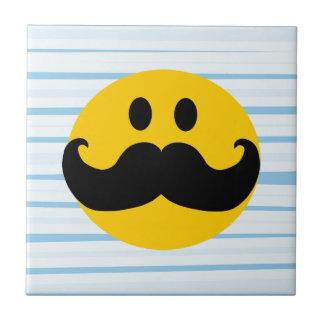 Mustache Smiley Small Square Tile