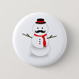 mustache snowman button