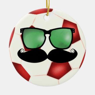 Mustache Soccer Ball Ornament