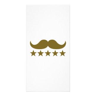 Mustache stars custom photo card