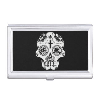 Mustache sugar skull business card holder