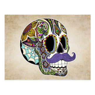 Mustache Sugar Skull Color Postcard