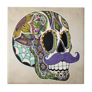 Mustache Sugar Skull (Color) Tile